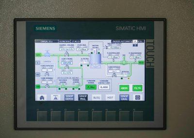 Modernización. Detalle pantalla del cuadro de control. Acequia Real del Júcar